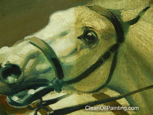Painting Of A Horse Partially Cleaned