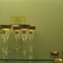 Gold-rimmed cut glass