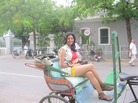 Riding on a cycle-rickshaw