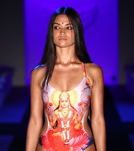 The controversial Saraswati-swimsuit (Photo Credit: here http://blogs.wsj.com/indiarealtime/2011/05/10/hindu-goddess-swimsuit-sparks-outrage/)