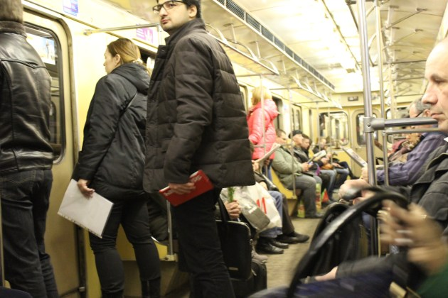 Muscovites taking the metro to work