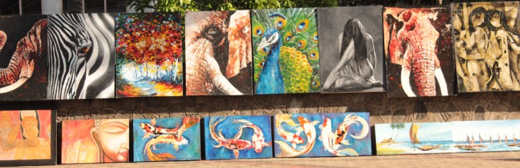 Paintings by a local artist which succinctly summarize the essence of Sri Lanka