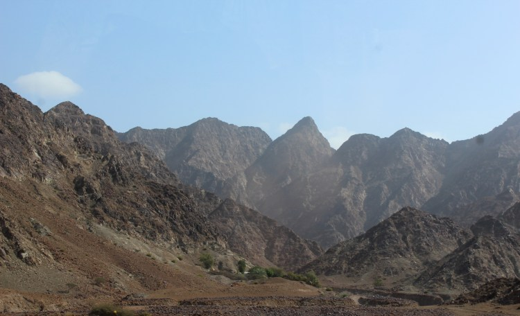 We start gaining altitude on the Al Hajar mountains