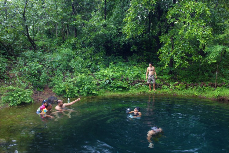 Dive into the 15 feet natural well