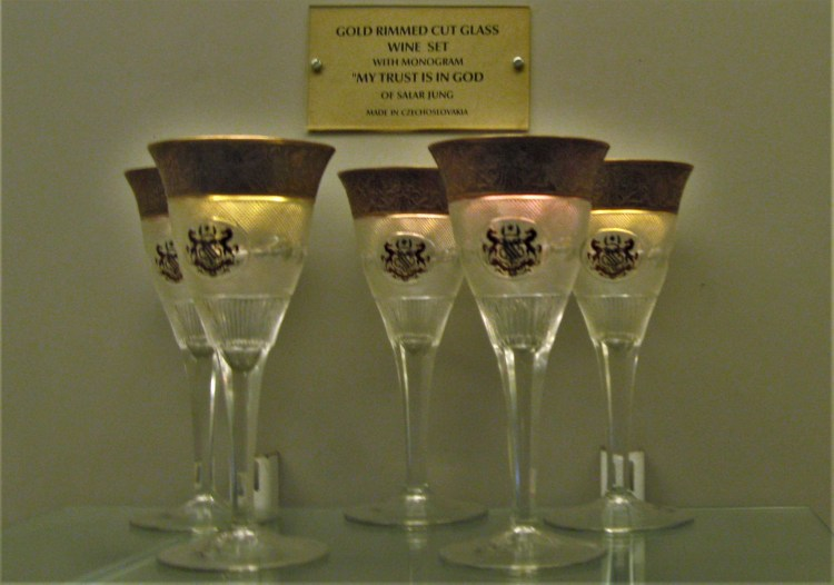Spotted at the Salar Jung Museum: gold rimmed wine glasses from Czechia - Is this what luxury is all about?