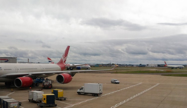 My Virgin Atlantic flight waits for me in London.