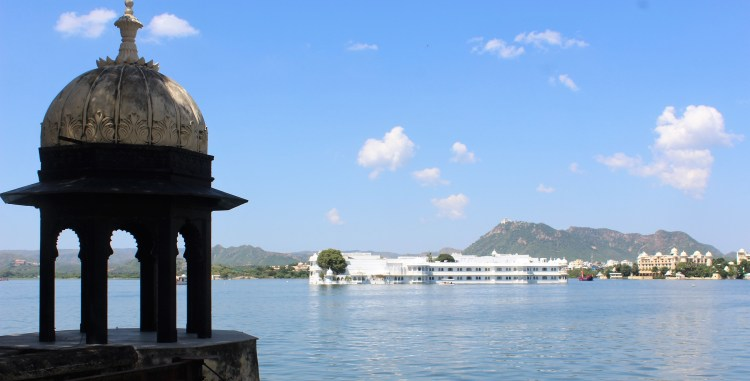 The Taj Lake Palace at the centre of Lake Pichola as seen from the City Palace