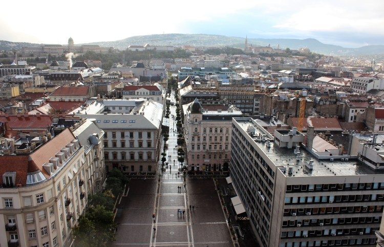 I watch the Old Town from the viewing gallery of St. Stephen's Basilica.