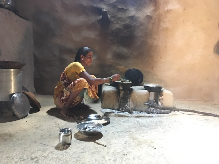 Cooking together or even learning to cook is a beautiful way to connect with another person. (My new-found friend from the Koli tribe in the Maharashtrian village of Purushwadi)