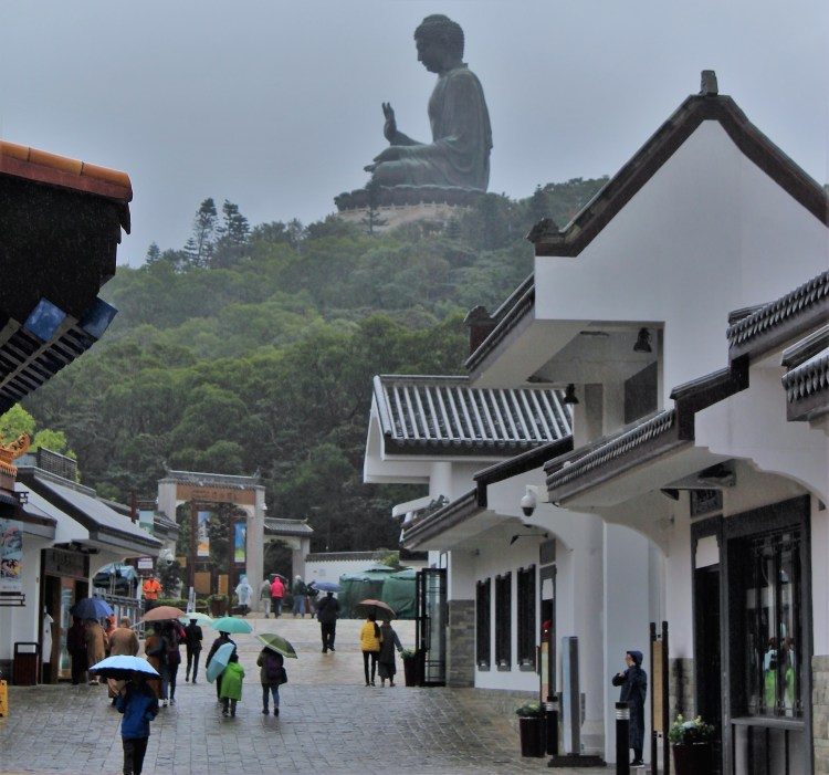 The giant statue of Buddha is visible from the Ngong Ping marketplace in Hong Kong's Lantau Island
