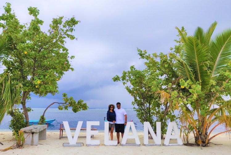 Walking by the Velana Beach in the public island of Maafushi in The Maldives