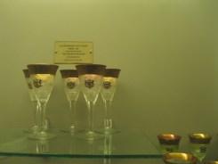 Gold-rimmed cut glass