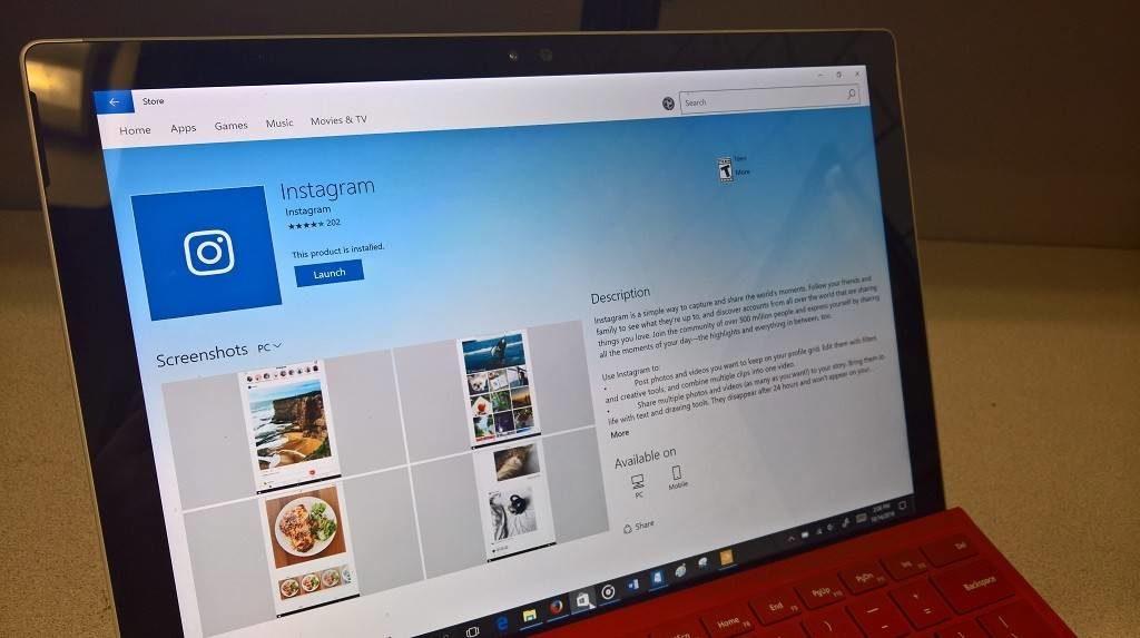 Инстаграмдағы Windows қосымшасы