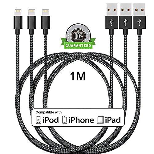 Lightning Kabel, ONSON 3Pack 1M Nylon iPhone Ladekabel