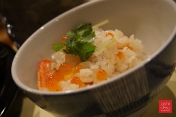 Takikomi gohan (for 2), seasoned rice with snow crab and ikura, $22