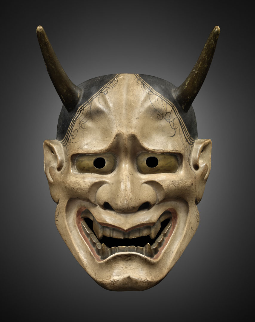 Hannya mask, one of the design elements seen in the restaurants. Image by www.mingei-arts-gallery.com