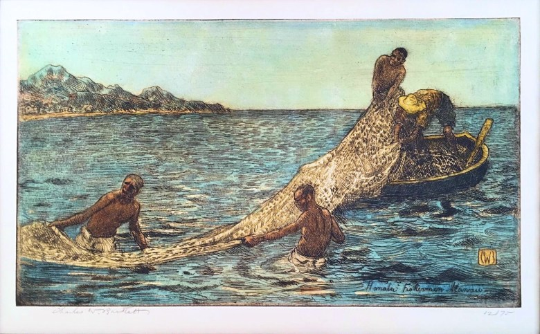 Photo Description: Hanalei Fishermen Hawaii hand colored etching by Charles W. Bartlett, c. 1923.