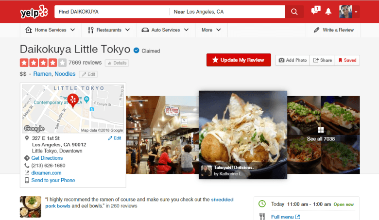 daikokuya-ramen-yelp-page-screenshot