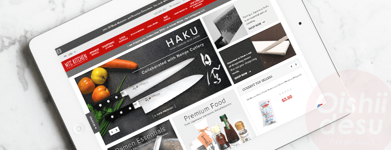 Photo Description: an iPad with a screenshot of MTCkitchen.com. The homepage shows several products from sharpening stones, premium food products, to Japanese knives.