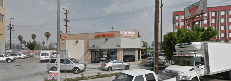 Photo Description: The Yoshinoya on Olympic and Alameda which is a corner location with a prominent drive-thru location.