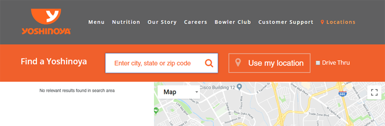 Photo Description: a screenshot of the Yoshinoya USA website of the location locater.