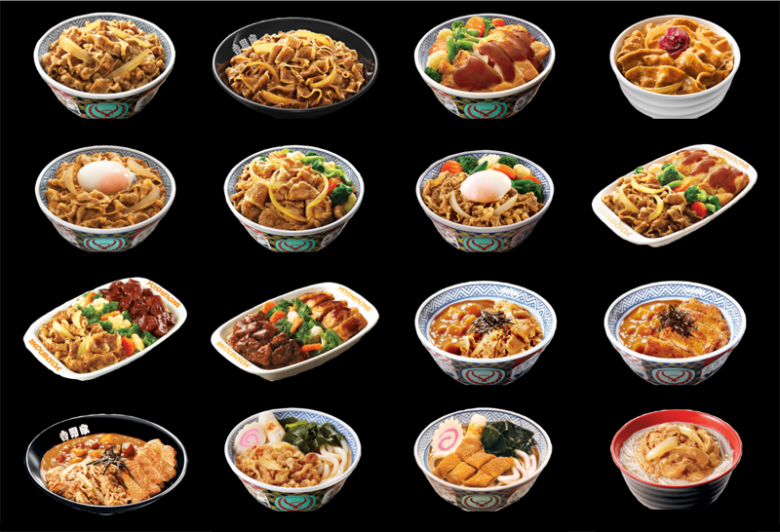 Photo Description: The Hong Kong Yoshinoya menu. On a black background there 16 bowls and a number of plates depicted. Many of them have beef bowl, tonkatsu, tonkatsu curry, to udon.