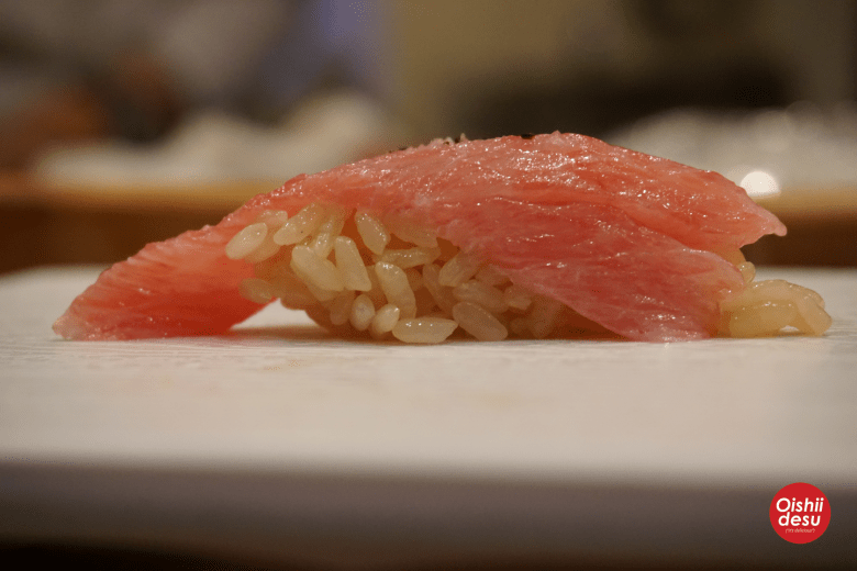 Photo Description: another shot nigiri sushi from Shunji sushi in Los Angeles. In the pic you can see the color of the rice which is slightly darker due to the type of vinegar they use.