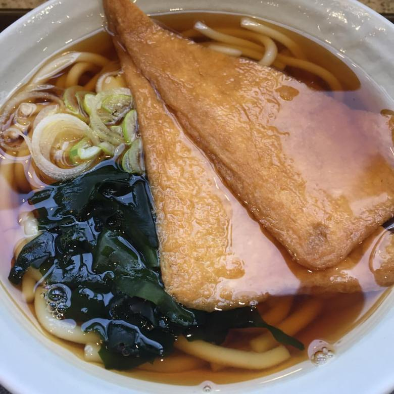 Photo Description: a bowl of udon with fried tofu.