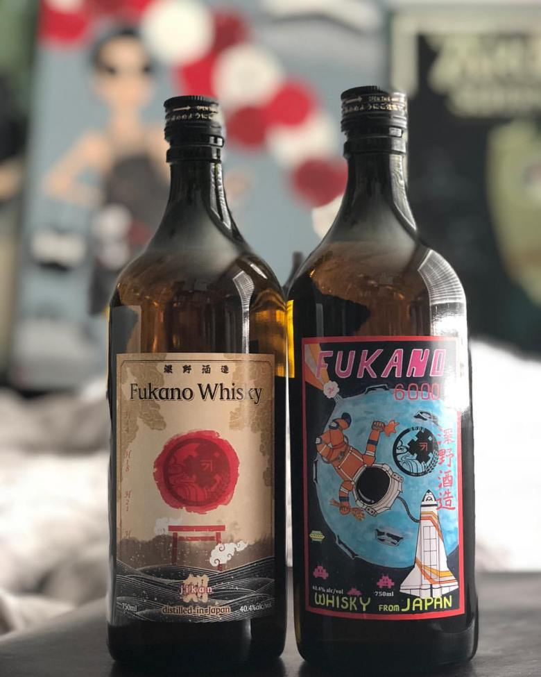 Photo Description: Two bottles of Fukano rice whisky one of which is the 6000. The image is by WhiskyAnorach.