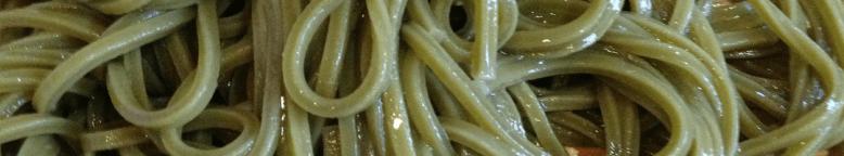 Photo Description: a close up of matcha soba noodles.