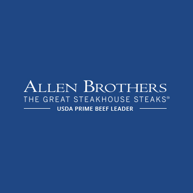 """Photo Description: The Allen Brothers logo which has the text """"the great steakhouse steaks -USDA prime beef leader-"""""""