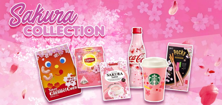 "Photo Description: ""Sakura Collection"" is a pink graphic with cherry blossoms with several products with ""sakura"" themed products from Caramel Corn, Lipton tea, latte, Starbucks, to Pocky."