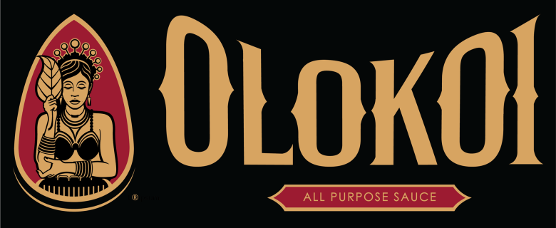 "Photo Description: the Olokoi logo which is black with gold looking lettering in a very eccentric style and an icon of a female holding a leaf on a maroon background with the words ""all purpose sauce."""