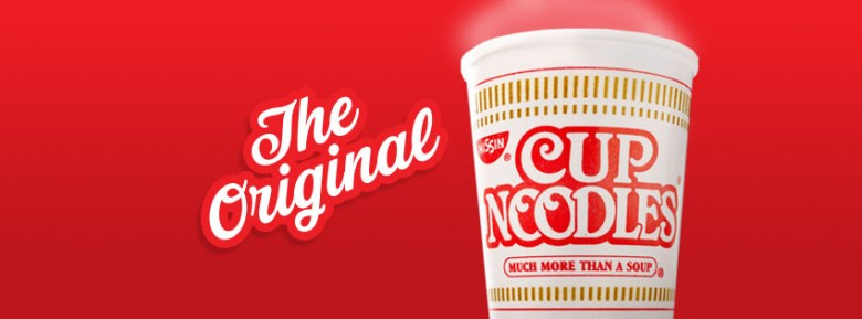 "Photo Description: gradient red background with ""the original"" in a script alongside a Nissin Cup Noodles cup with fake steam coming off the top."