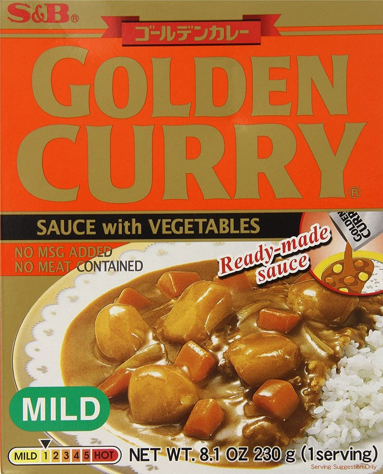 "Photo Description: S&B Golden Curry with sauce with vegetables. The packaging has the text ""no MSG added, no mat contained, and ready-made sauce."""