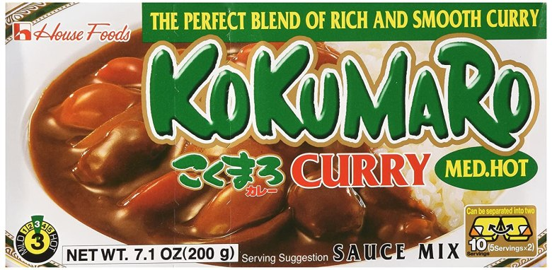 "Photo Description: House Foods brand of curry roux. The product is called Kokumaro. The text on the packaging says ""the perfect blend of rich and smooth curry."""