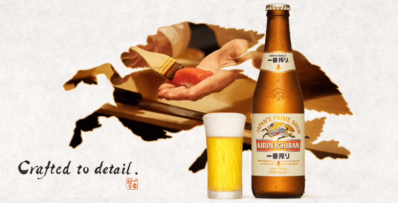 """Photo Description: the Kirin beer logo of the mythical harbinger of luck which looks like a horse and a dragon (it's a silhouette). In the silhouette is an image of a sushi chef brushing on the nikiri which is a soy sauce based mixture onto a piece of sushi. In the foreground is a glass of Kirin beer and a beer bottle with the text """"Crafted to Detail."""""""