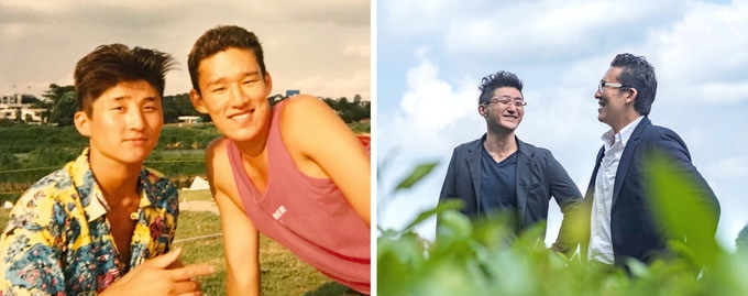 Photo Description: Images of young and present day? Oki Hatta and Ejiro Tsukada, the founders of Cuzen Matcha.