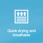 """Photo Description: """"quick-drying and breathable"""" icon"""