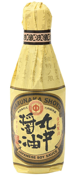 Photo Description: the Marunaka is completely wrapped in a paper wrap like the Kishibori packaging except this bottle wrap is a light brown.