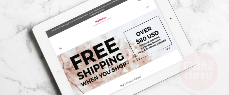 """Photo Description: a plain looking landing page with a white background an a featured image with the words """"FREE SHIPPING WHEN YOU SHOP and over $80 USD, premium shipping 6-9 business days with a tracking number."""" Directly below is their """"Top 100 best sellers."""""""