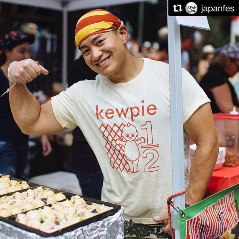 Photo Description: Karl flexing with his Kewpie shirt.