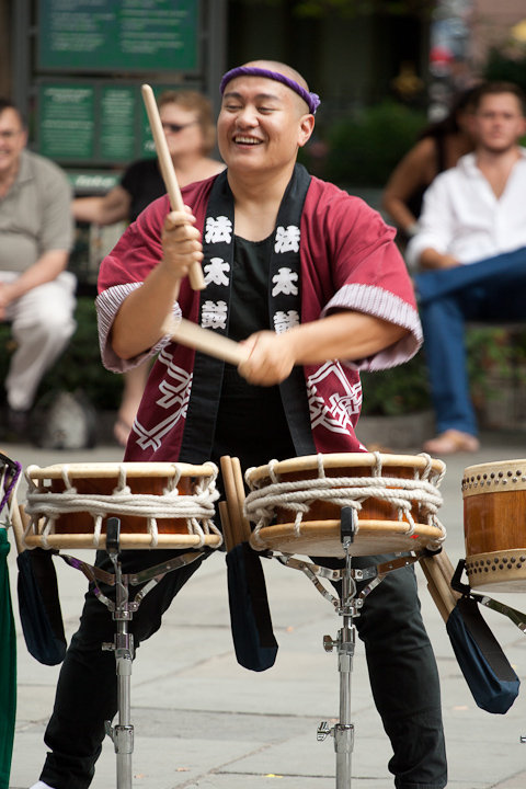 Photo Description: Karl playing taiko. He looks awfully happy here, or the photographer snapped the pic at the right time although I'm sure he's usually happy.