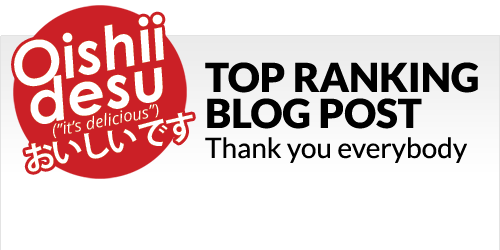 "Photo Description: Oishii Desu (logo) ""top ranking blog post"" along with the text ""thank you everybody"" for ""Here are My Top 5 Favorite Types of Wagyu Beef including 'Kobe Beef'"""