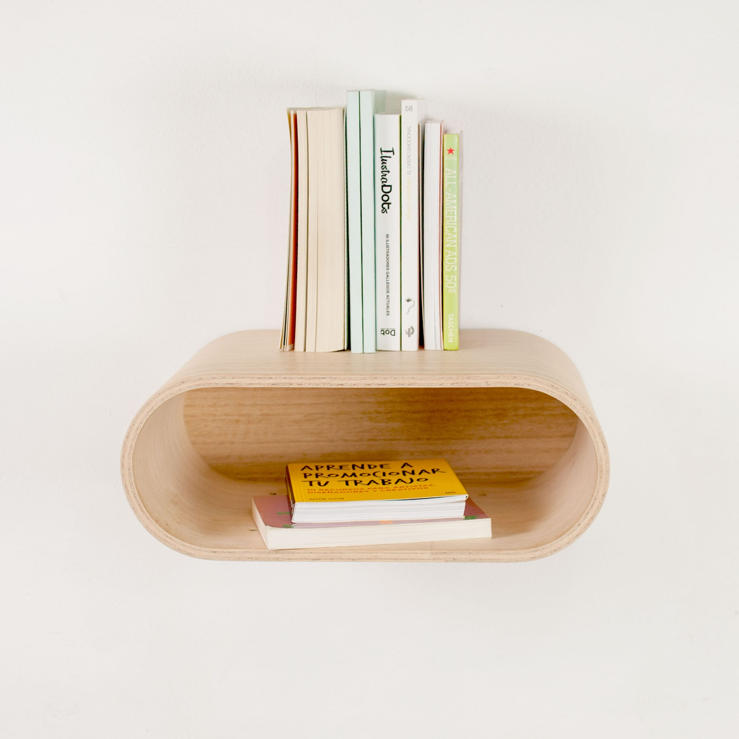 Curved Wood Wall Mounted Floating Nightstand
