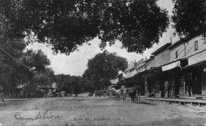 Main Street in downtown Nordhoff, California. The photo is looking west.