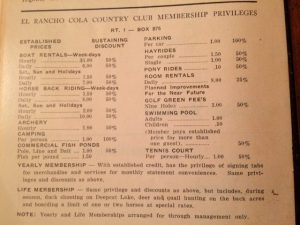 El Rancho Cola Country Club Membership Privileges
