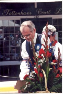 Florist and historian David Mason getting flowers ready for the pergola restoration celebration. He was the driving force behind the project to rebuilt the pergola.