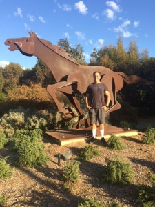 """Forest Masburn in September of 2017 at Rotary Park at the """"Y"""" intersection in Ojai. Rotary Park used to be the location of """"Grant Station"""" back in the early days of the railroad that once ran where the Ojai Valley Trail is now located next to the park."""
