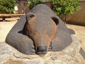 Bear sculpture in the museum's front courtyard.